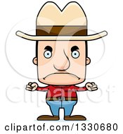Clipart Of A Cartoon Mad Block Headed White Man Cowboy Royalty Free Vector Illustration
