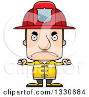 Clipart Of A Cartoon Mad Block Headed White Man Firefighter Royalty Free Vector Illustration by Cory Thoman