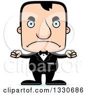 Clipart Of A Cartoon Mad Block Headed White Man Groom Royalty Free Vector Illustration