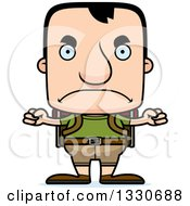 Clipart Of A Cartoon Mad Block Headed White Man Hiker Royalty Free Vector Illustration by Cory Thoman
