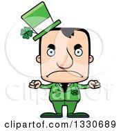 Clipart Of A Cartoon Mad Block Headed White Irish St Patricks Day Man Royalty Free Vector Illustration