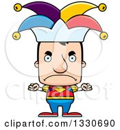 Clipart Of A Cartoon Mad Block Headed White Man Jester Royalty Free Vector Illustration by Cory Thoman