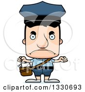 Clipart Of A Cartoon Mad Block Headed White Mail Man Royalty Free Vector Illustration by Cory Thoman
