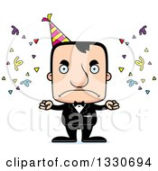 Clipart Of A Cartoon Mad Block Headed White Party Man Royalty Free Vector Illustration by Cory Thoman