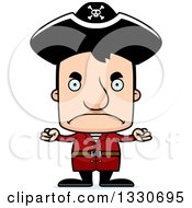 Clipart Of A Cartoon Mad Block Headed White Man Pirate Royalty Free Vector Illustration