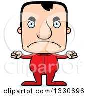 Clipart Of A Cartoon Mad Block Headed White Man In Pjs Royalty Free Vector Illustration by Cory Thoman