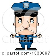Clipart Of A Cartoon Mad Block Headed White Man Police Officer Royalty Free Vector Illustration by Cory Thoman