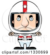Clipart Of A Cartoon Mad Block Headed White Man Race Car Driver Royalty Free Vector Illustration by Cory Thoman