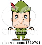 Clipart Of A Cartoon Mad Block Headed White Robin Hood Man Royalty Free Vector Illustration by Cory Thoman