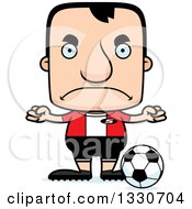 Clipart Of A Cartoon Mad Block Headed White Man Soccer Player Royalty Free Vector Illustration by Cory Thoman