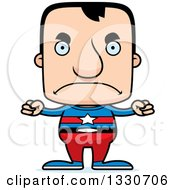 Clipart Of A Cartoon Mad Block Headed White Man Super Hero Royalty Free Vector Illustration