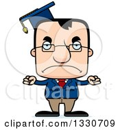 Clipart Of A Cartoon Mad Block Headed White Man Professor Royalty Free Vector Illustration by Cory Thoman