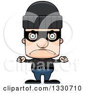 Clipart Of A Cartoon Mad Block Headed White Man Burglar Royalty Free Vector Illustration