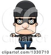 Clipart Of A Cartoon Mad Block Headed White Man Burglar Royalty Free Vector Illustration by Cory Thoman