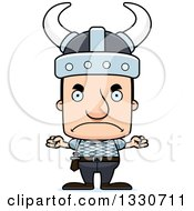 Clipart Of A Cartoon Mad Block Headed White Viking Man Royalty Free Vector Illustration by Cory Thoman