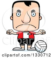 Clipart Of A Cartoon Mad Block Headed White Man Volleyball Player Royalty Free Vector Illustration by Cory Thoman