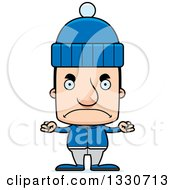 Clipart Of A Cartoon Mad Block Headed White Man In Winter Clothes Royalty Free Vector Illustration by Cory Thoman
