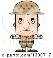 Clipart Of A Cartoon Mad Block Headed White Man Zookeeper Royalty Free Vector Illustration