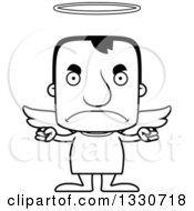 Lineart Clipart Of A Cartoon Black And White Mad Block Headed White Man Angel Royalty Free Outline Vector Illustration