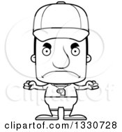 Lineart Clipart Of A Cartoon Black And White Mad Block Headed White Man Sports Coach Royalty Free Outline Vector Illustration