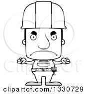 Cartoon Black And White Mad Block Headed White Man Construction Worker