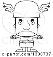 Lineart Clipart Of A Cartoon Black And White Mad Block Headed White Man Hermes Royalty Free Outline Vector Illustration