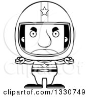 Lineart Clipart Of A Cartoon Black And White Mad Block Headed White Man Race Car Driver Royalty Free Outline Vector Illustration