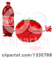 Clipart Of A 3d Unhappy Tomato Character Facing Slightly Right Jumping And Holding A Soda Bottle Royalty Free Illustration