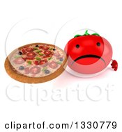 Clipart Of A 3d Unhappy Tomato Character Holding Up A Pizza Royalty Free Illustration