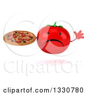 Clipart Of A 3d Unhappy Tomato Character Jumping And Holding A Pizza Royalty Free Illustration