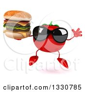 Clipart Of A 3d Tomato Character Wearing Sunglasses Jumping And Holding A Double Cheeseburger Royalty Free Illustration