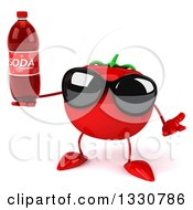 Clipart Of A 3d Tomato Character Wearing Sunglasses Shrugging And Holding A Soda Bottle Royalty Free Illustration