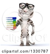 Clipart Of A 3d Bespectacled White Tiger Holding A Stack Of Books Royalty Free Illustration