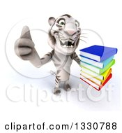 Clipart Of A 3d White Tiger Holding Up A Thumb And A Stack Of Books Royalty Free Illustration