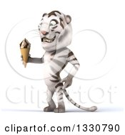 Clipart Of A 3d White Tiger Facing Left And Holding A Waffle Ice Cream Cone Royalty Free Illustration