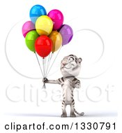 Clipart Of A 3d White Tiger Holding And Pointing To Party Balloons Royalty Free Illustration