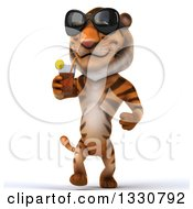 Clipart Of A 3d Tiger Wearing Sunglasses Walking And Drinking A Beverage Royalty Free Illustration