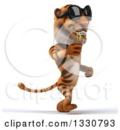 Clipart Of A 3d Tiger Wearing Sunglasses Walking To The Right And Drinking A Beverage Royalty Free Illustration