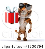 Clipart Of A 3d Tiger Wearing Sunglasses Walking And Holding A Gift Royalty Free Illustration