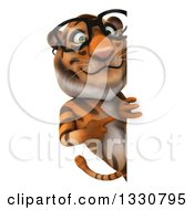 Clipart Of A 3d Bespectacled Tiger Pointing Around A Sign Royalty Free Illustration