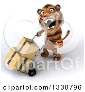 Clipart Of A 3d Tiger Looking Up Roaring And Moving Boxes On A Dolly To The Right Royalty Free Illustration