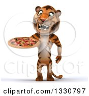 Clipart Of A 3d Tiger Holding And Looking At A Pizza Royalty Free Illustration