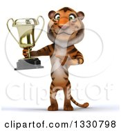 Clipart Of A 3d Tiger Holding And Pointing To A Trophy Royalty Free Illustration