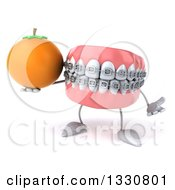 Clipart Of A 3d Metal Mouth Teeth Mascot With Braces Shrugging And Holding A Navel Orange Royalty Free Illustration by Julos