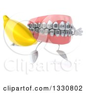 Clipart Of A 3d Metal Mouth Teeth Mascot With Braces Facing Slightly Right Juming And Holding A Banana Royalty Free Illustration by Julos