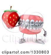 Clipart Of A 3d Metal Mouth Teeth Mascot With Braces Holding A Strawberry Royalty Free Illustration by Julos