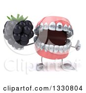 Clipart Of A 3d Metal Mouth Teeth Mascot With Braces Giving A Thumb Up And Holding A Blackberry Royalty Free Illustration by Julos