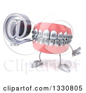 Clipart Of A 3d Metal Mouth Teeth Mascot With Braces Shrugging And Holding An Email Arobase At Symbol Royalty Free Illustration by Julos