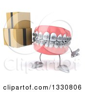 Clipart Of A 3d Metal Mouth Teeth Mascot With Braces Shrugging And Holding Boxes Royalty Free Illustration by Julos