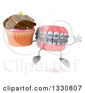 Clipart Of A 3d Metal Mouth Teeth Mascot With Braces Jumping And Holding A Chocolate Frosted Cupcake Royalty Free Illustration by Julos